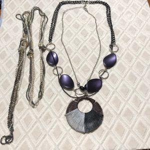3 Necklace VTG purple BUNDLE LOT